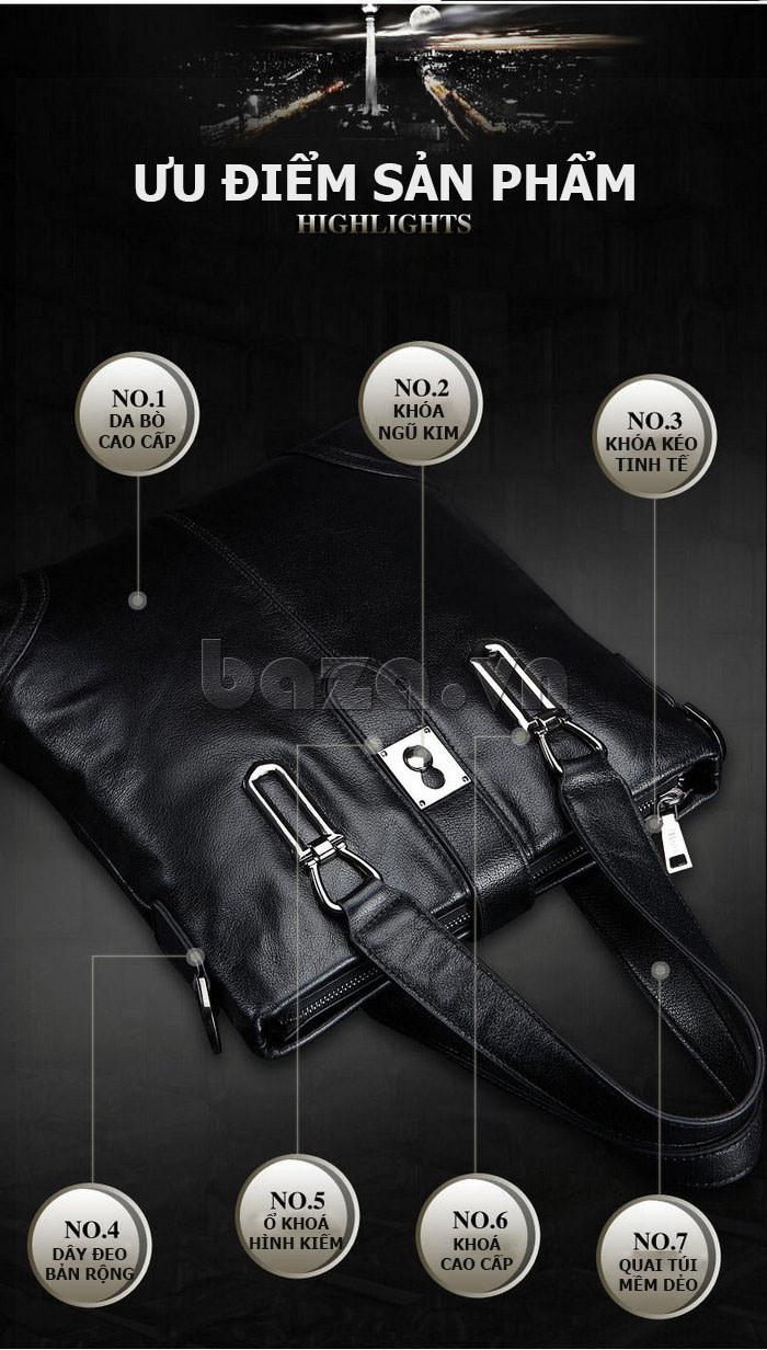 Túi da nam Feger 632-2 khóa nam châm từ tính sang trọng