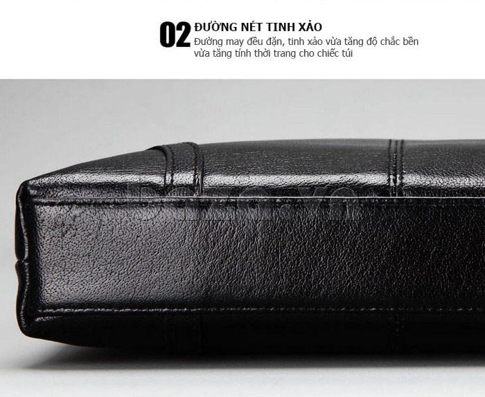 Túi da nam Feger 632-2 khóa nam châm từ tính thời trang