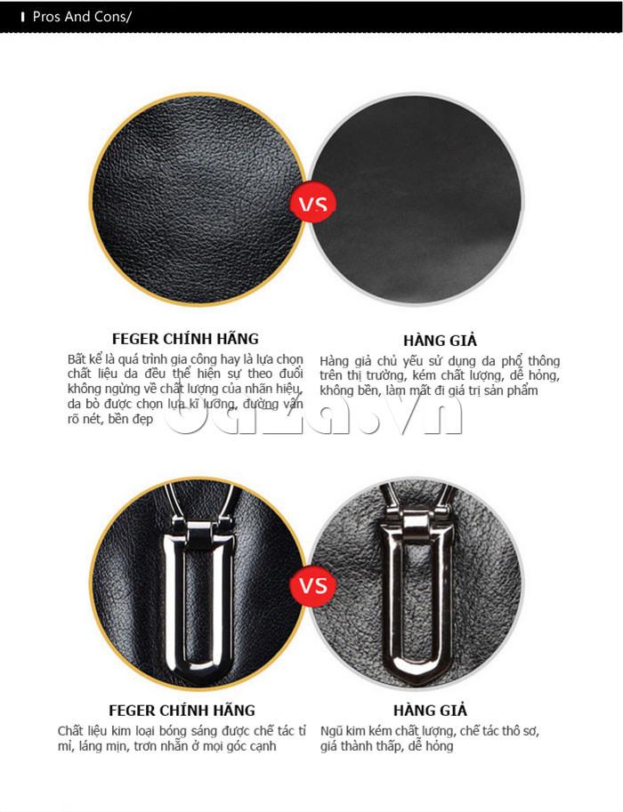 Túi da nam Feger 632-2 khóa nam châm từ tính da cao cấp và chính hãng