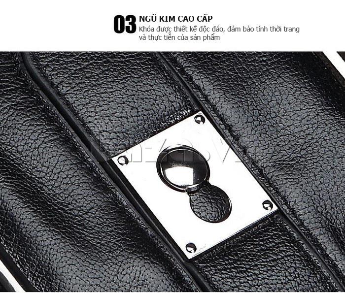 Túi da nam Feger 632-2 khóa nam châm từ tính phong cách và cá tính