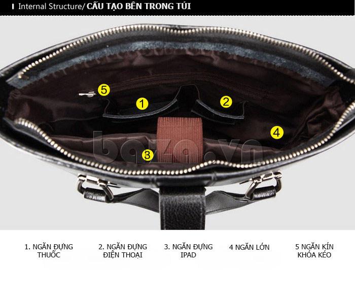 Túi da nam Feger 632-2 khóa nam châm từ tính nổi tiếng