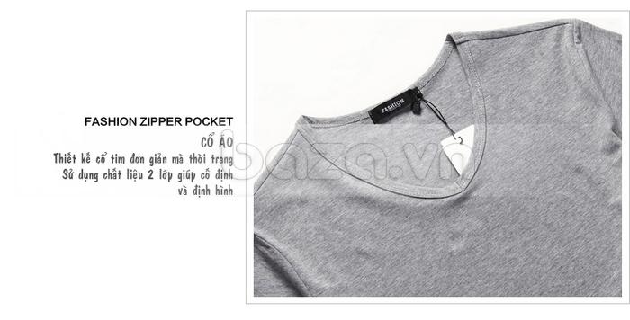Áo T-shirt nam Sinhillze kiểu dáng cổ điển thiết kế cổ tim đơn giản