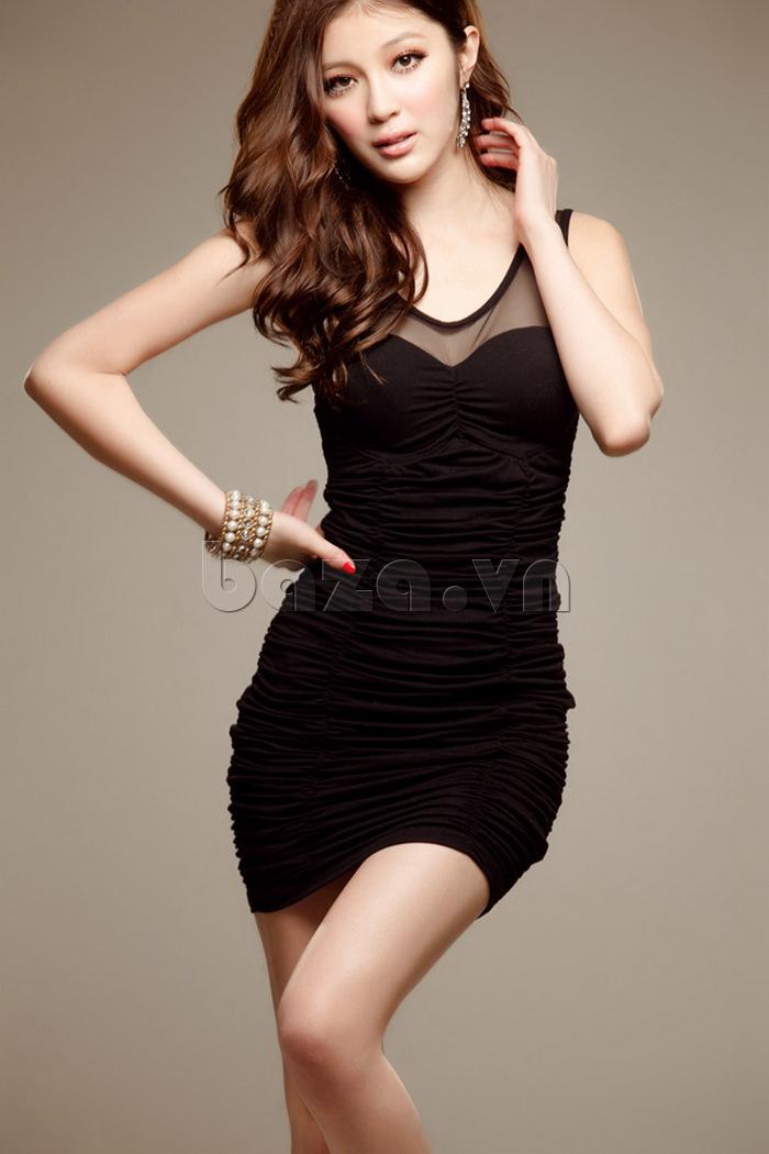 Váy bó toàn thân sành điệu Flower Angel A001 màu đen quyến rũ