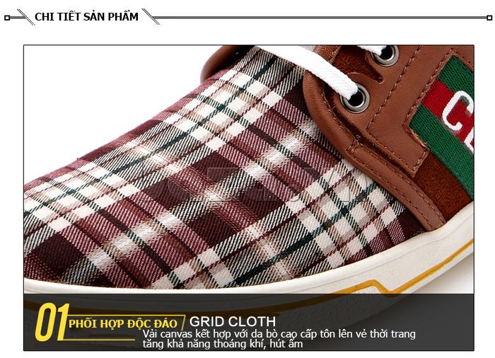 Giày nam CDD 1668 phối hợp độc đáo giữa vải và vải canvas