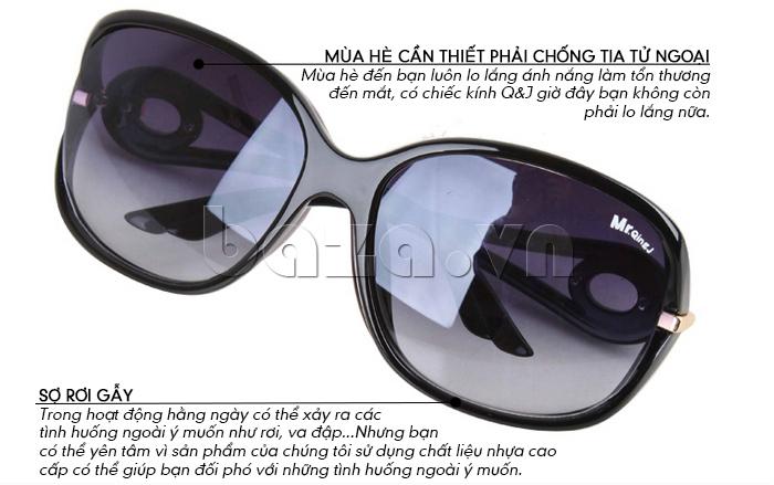 Kính nữ Q&J 20311x vòng tròn kim loại bảo vệ mắt
