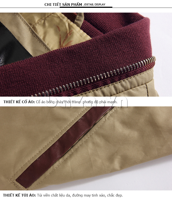 Thiết kế cổ áo bóng chày thời trang, thể hiện phong độ của phái mạnh