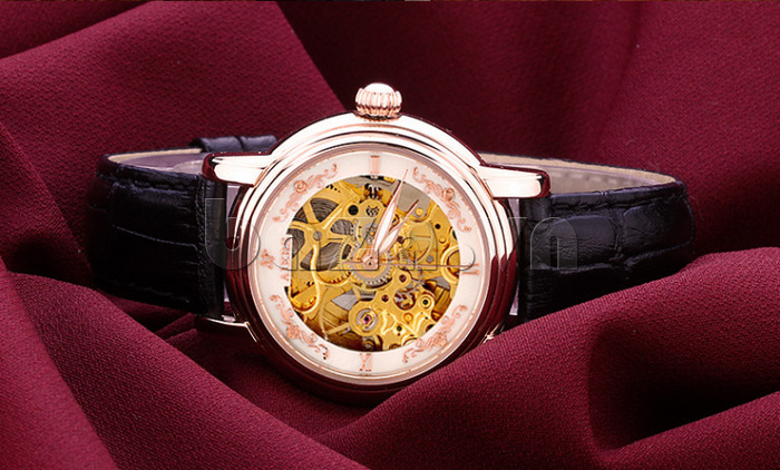Đồng hồ cơ nữ Aiers B202L dây đeo đen bí ẩn