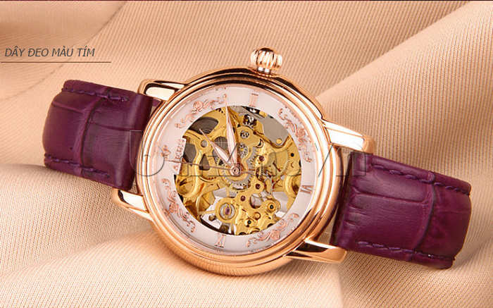 Đồng hồ cơ nữ Aiers B202L dây đeo màu tím