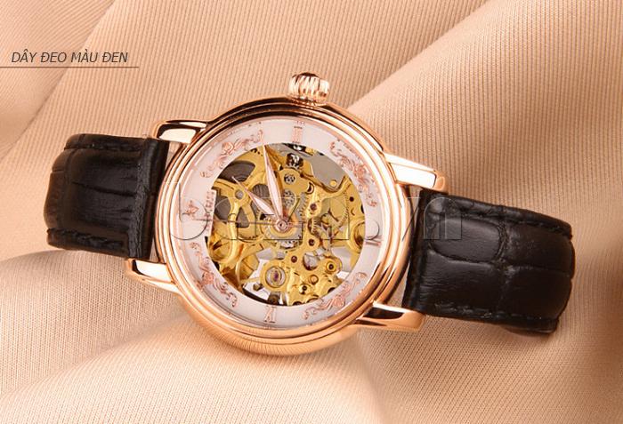 Đồng hồ cơ nữ Aiers B202L dây đeo màu đen