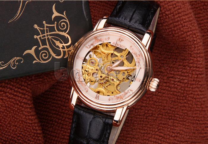 Đồng hồ cơ nữ Aiers B202L dây đeo đen sành điệu