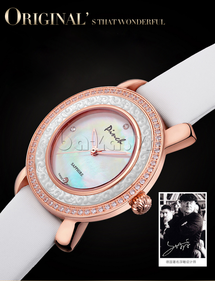 Đồng hồ nữ Pinch L613-P11L kim dạ quang viền đính pha lê