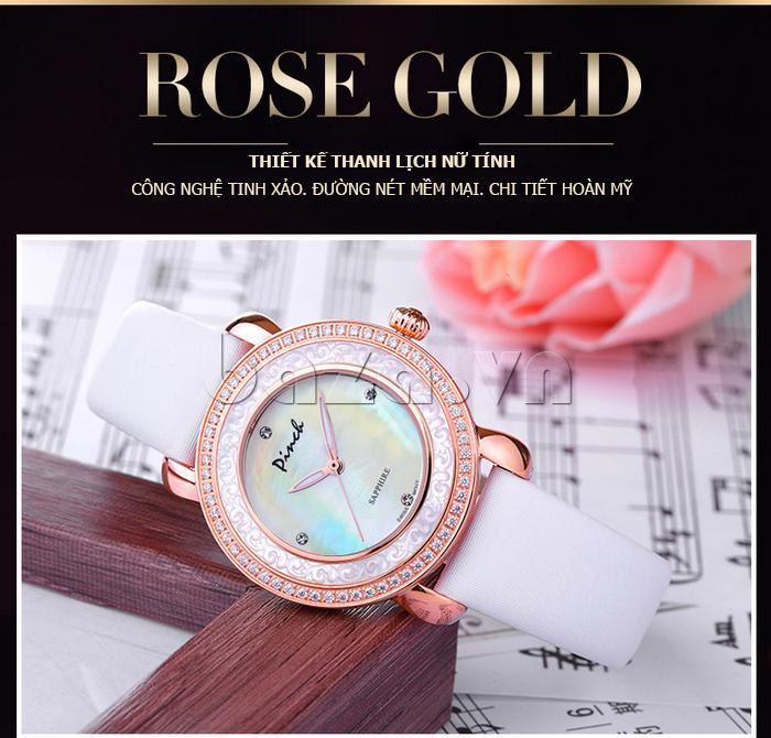 Đồng hồ nữ Pinch L613-P11L kim dạ quang vẻ đẹp nữ tính