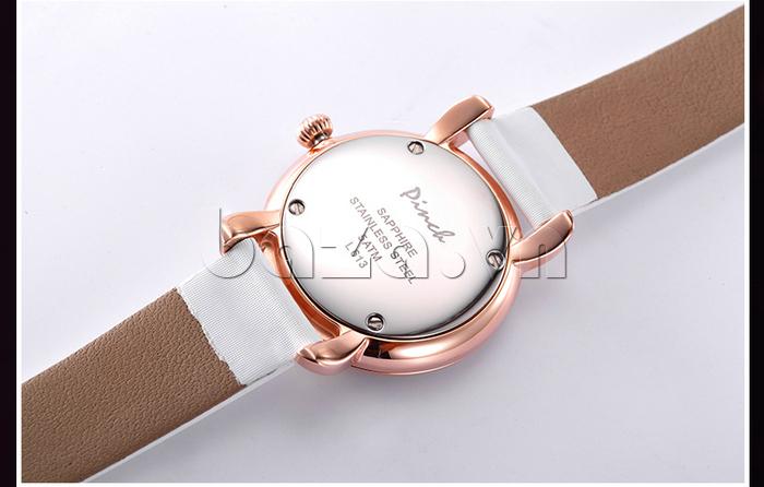Đồng hồ nữ Pinch L613-P11L kim dạ quang có logo ở mặt đáy