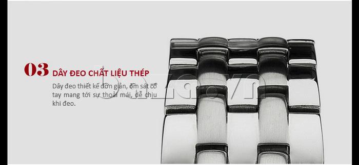 Đồng hồ nam Time2U Phong Cách Mạnh Mẽ có dây đeo chất liệu thép