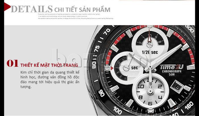 Đồng hồ nam Time2U Phong Cách Mạnh Mẽ thiết kế mặt thời trang