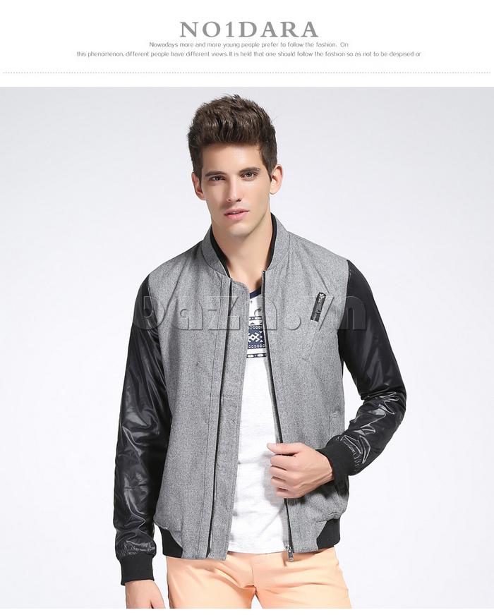 Áo khoác bóng chày nam  No1Dara WTN38511  màu đen - xám