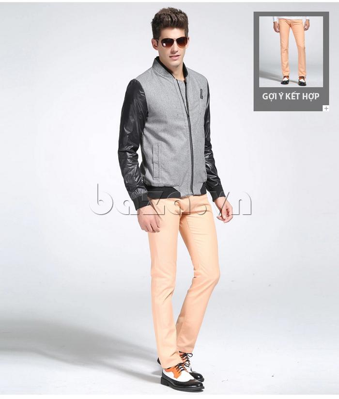 Áo khoác bóng chày nam  No1Dara WTN38511 màu đen - xám phù hợp với mọi chàng trai