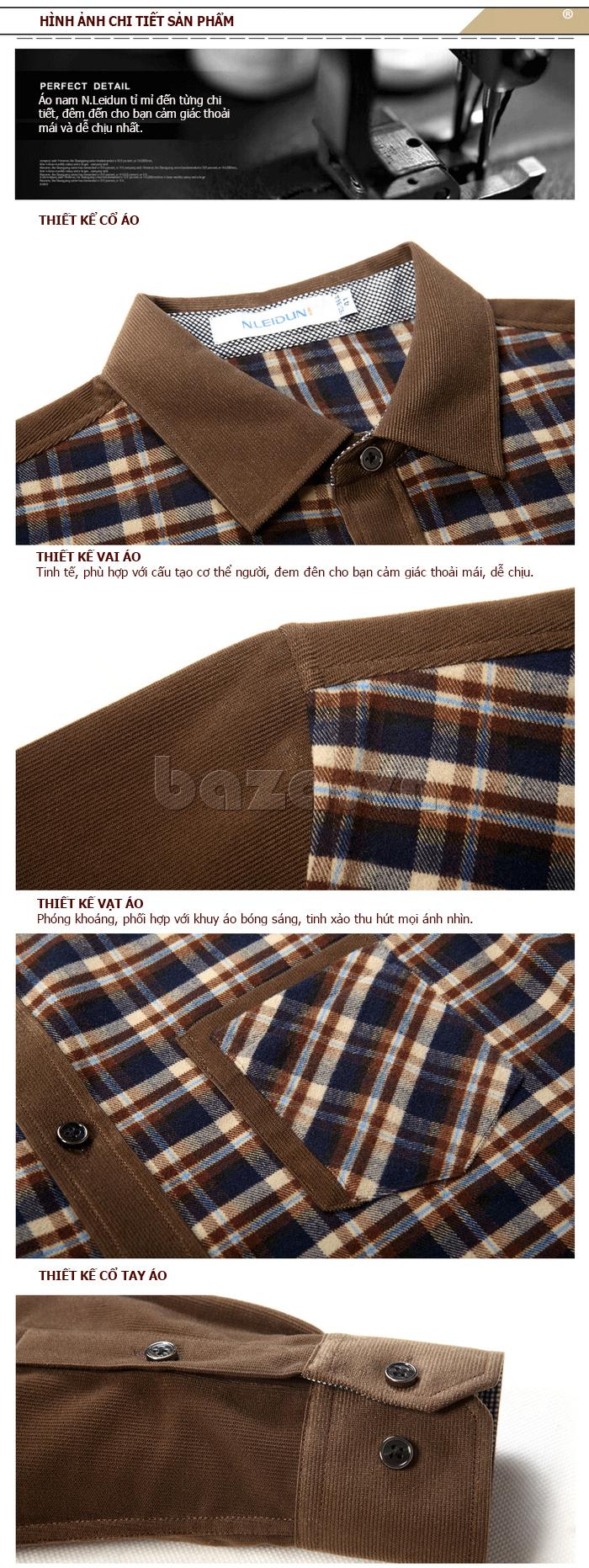 Áo sơ mi nam NLeidun S3385 kẻ ô vuông- hình ảnh chi tiết của áo sơ mi nam