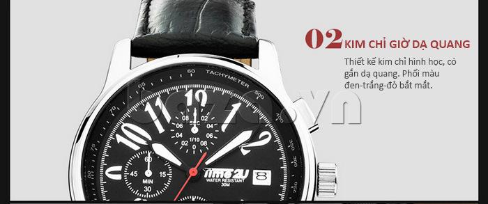 Đồng hồ nam Time2U Phong Cách Năng Động kim dạ quang