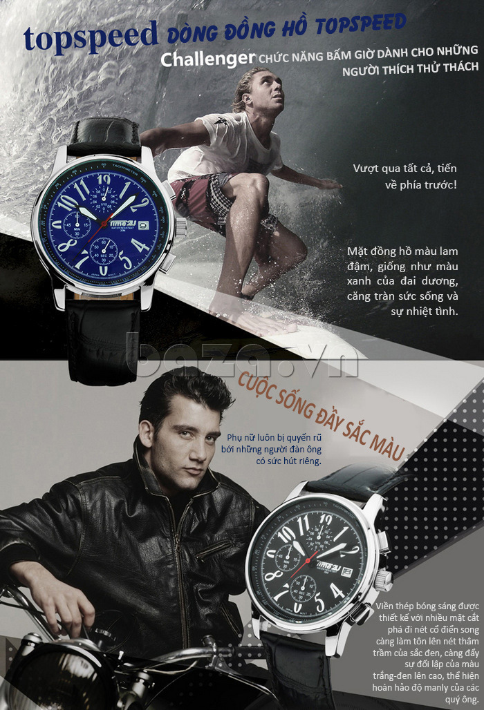 Đồng hồ nam Time2U Phong Cách Năng Động tinh tế