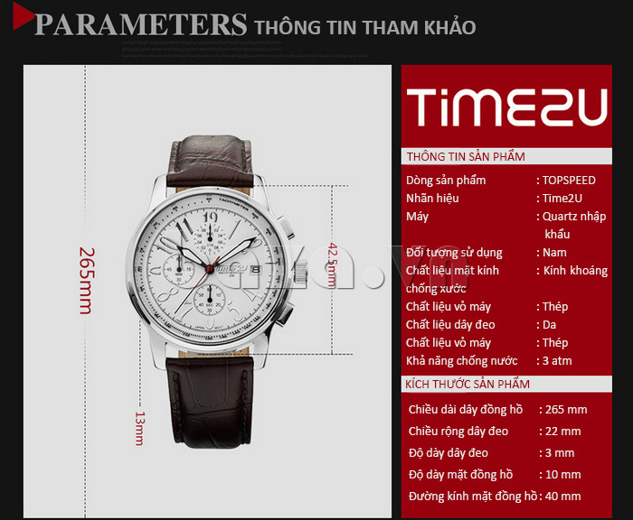 Đồng hồ nam Time2U Phong Cách Năng Động phong cách