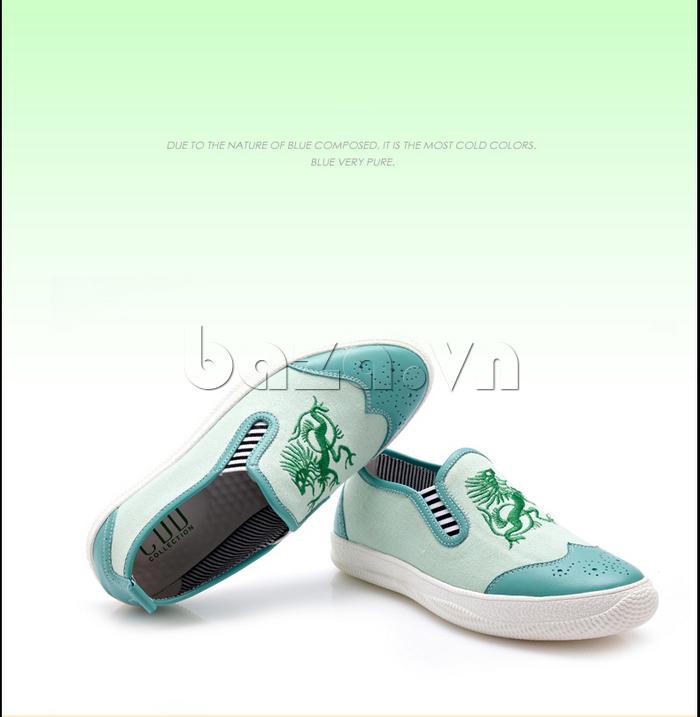 Giày da nam CDD 1259 thêu rồng màu xanh trẻ trung