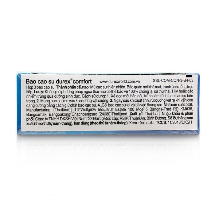 Bao cao su cỡ lớn Durex Comfort - chiết xuất từ cao su tự nhiên