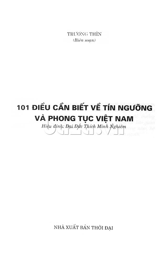 101 điều cần biết về tín ngưỡng và phong tục Việt Nam sách cần thiết