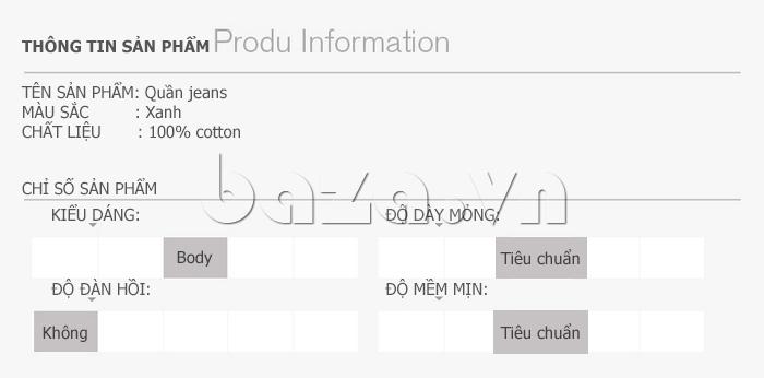 Quần bò nam No1Dara KZN46108  100% cotton