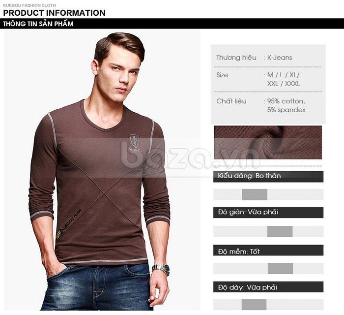 Áo thun nam dài tay K-Jeans KT-8812 kiểu dáng bo thân hiệu quả và gợi cảm, nam tính
