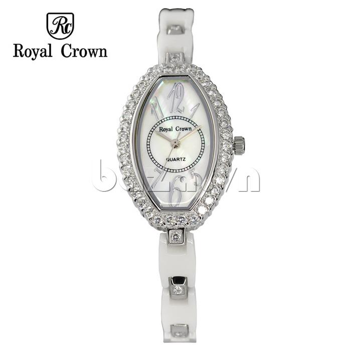Đồng hồ nữ Royal Crown 3843 viền ngoài đính đá