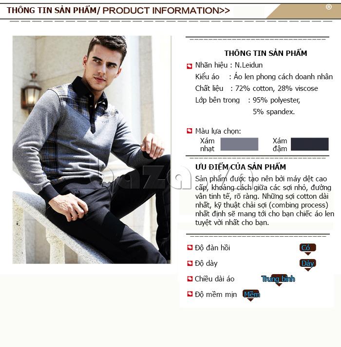 Thông tin chi tiết sản phẩm áo nam thu đông Nleidun Z611