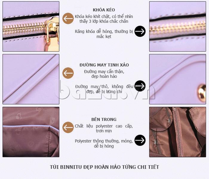 Túi xách nữ Binnitu B1393 Kiểu dáng độc đáo đường may tinh xảo