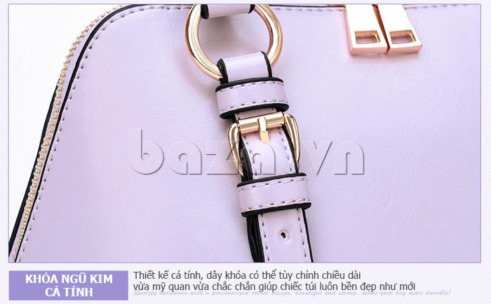 Túi xách nữ Binnitu B1393 Kiểu dáng độc đáo khóa kéo sáng bóng