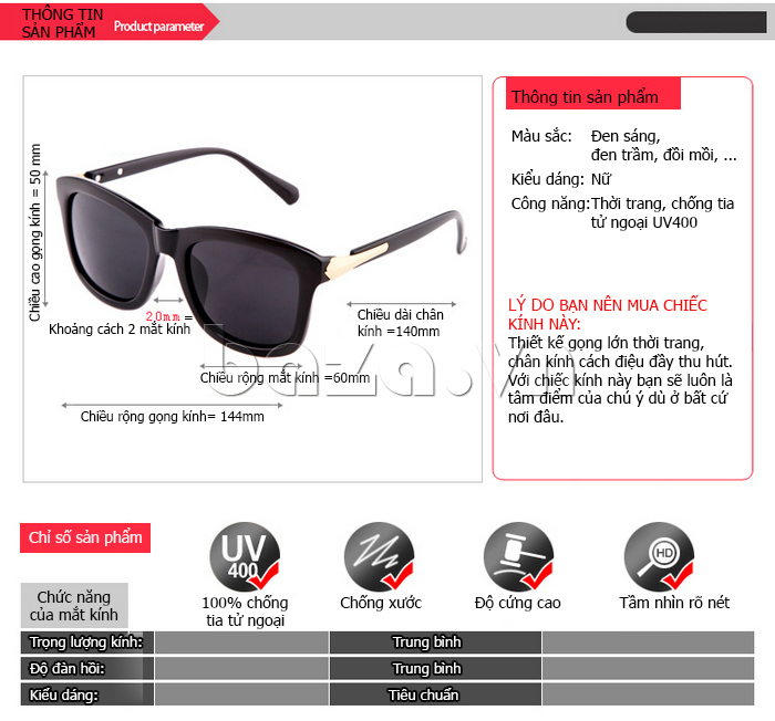 Lý do bạn nên chọn Kính mắt nữ thời trang RBSPACE 2310\