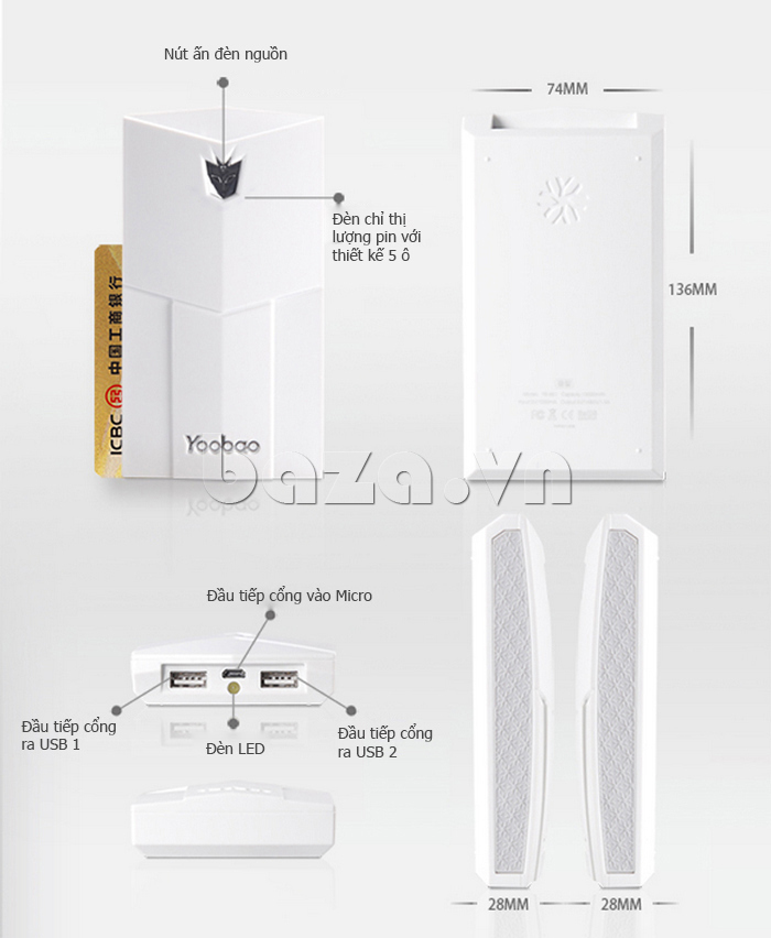 Pin dự phòng di động 13000mA Yoobao YB651 đẹp