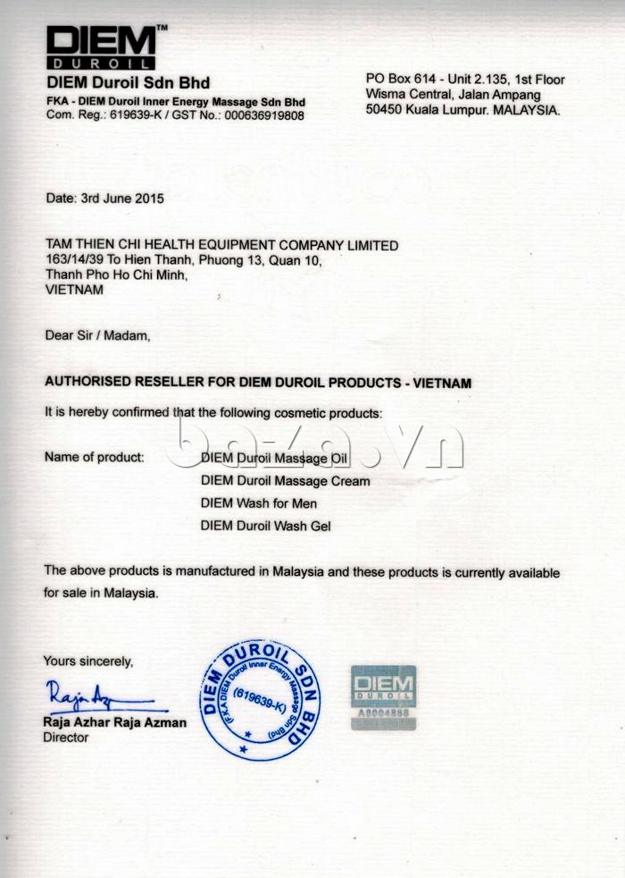 Giấy phép nhập khẩu và phân phối của Dung dịch vệ sinh vùng kín nam giới DIEM DUROIL