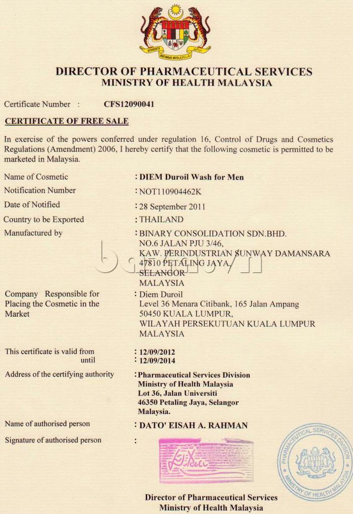 Chứng nhận tự do lưu hành của Dung dịch vệ sinh vùng kín nam giới DIEM DUROIL