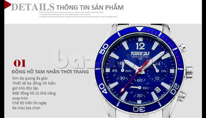 Đồng hồ nam Time2U 931892631001 tam nhãn thời trang
