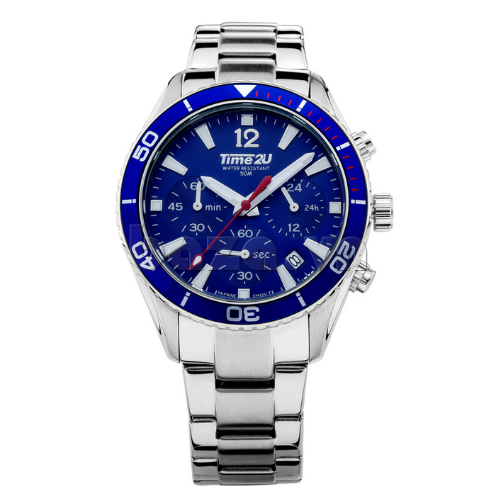 Đồng hồ nam Time2U 931892631001 mặt xanh
