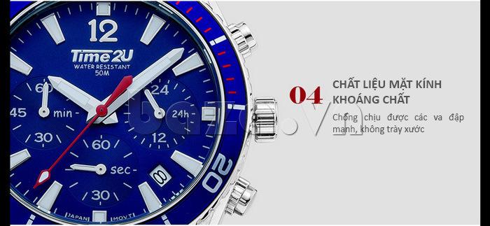 Đồng hồ nam Time2U 931892631001 mặt kính khoáng chất