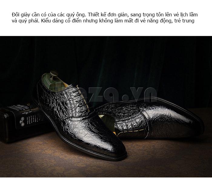 Giày da nam VANGOSEDUN VG78803 họa tiết da rắn