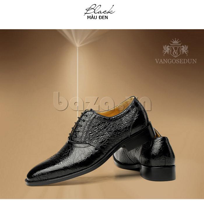Giày da nam VANGOSEDUN VG78803 mũi nhọn thời thượng màu đen huyền bí