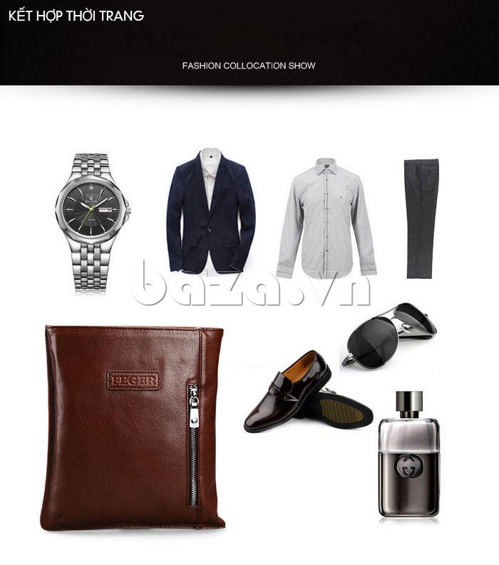 Túi da nam Feger 932, thời trang phong cách