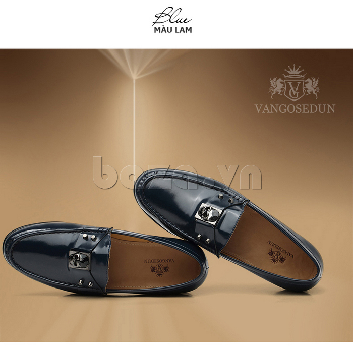 Giày lười nam VANGOSEDUN K01701 màu lam trẻ trung