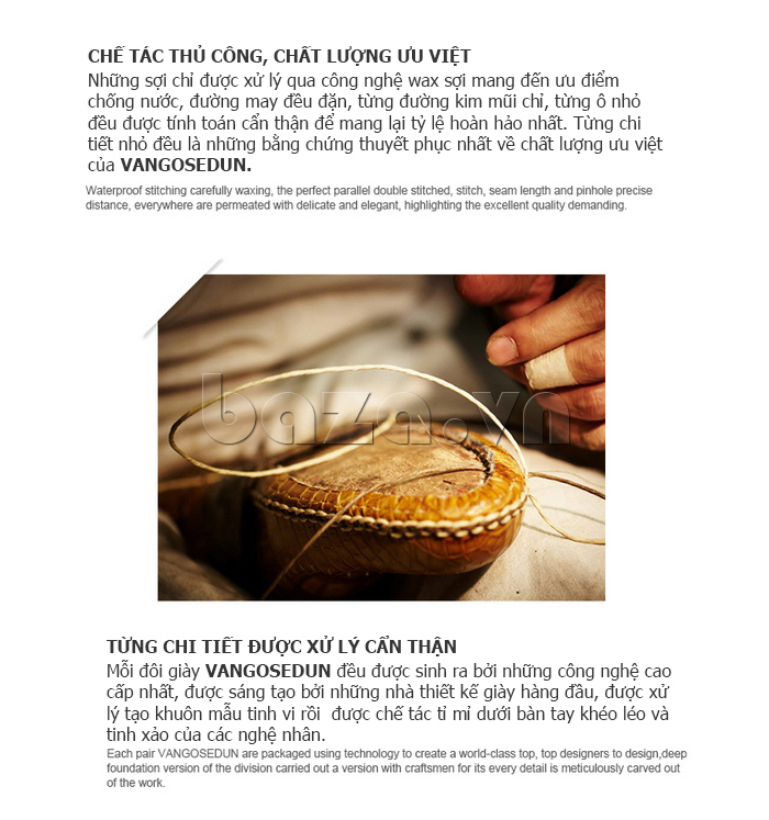 Giày lười nam VANGOSEDUN K01701 được xử lý tỉ mỉ đến từng chi tiết