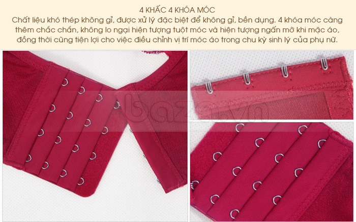 Bộ đồ lót nữ chất liệu ren cao cấp XZYD chất liệu thép không gỉ làm các nấc khóa của phần sau lưng sáng bóng