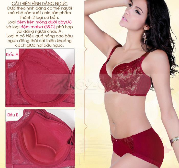 Bộ đồ lót nữ chất liệu ren cao cấp XZYD giúp cải thiện hình dáng ngực