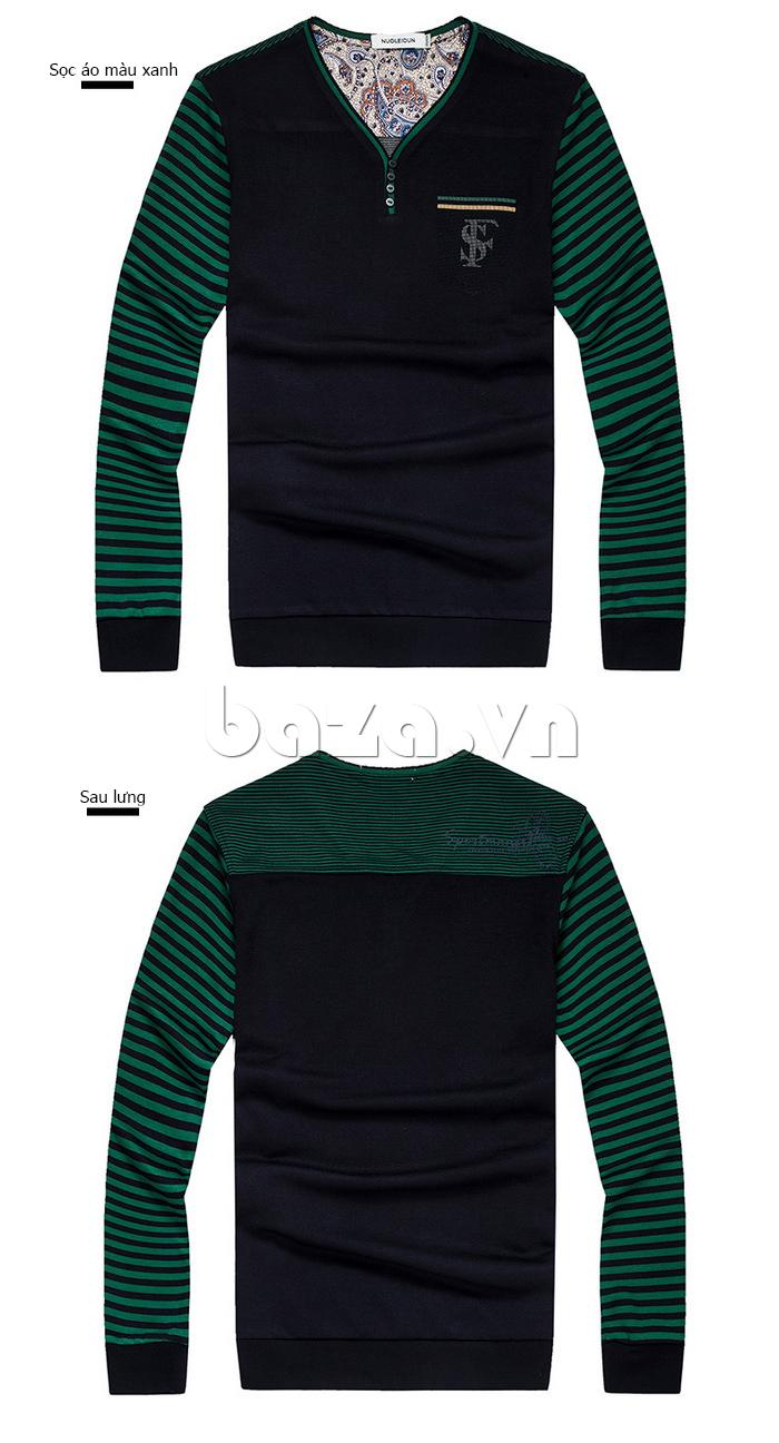Áo nam Tshirt dài tay Nleidun T3033 cổ chữ V độc đáo