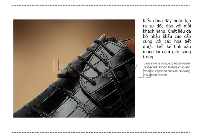 Giày da nam VANGOSEDUN Y1021 hoa văn cá sấu dây buộc độc đáo